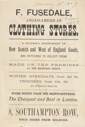 Advert For F. Fusedale's Anglo American Clothing Store